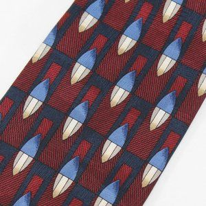 VTG Dior Tie Blue & Red Geometric, Made in Canada